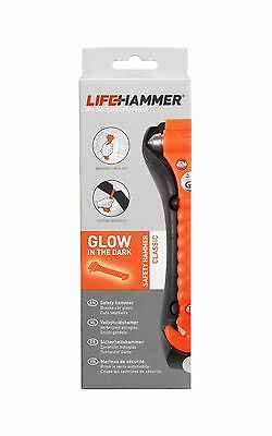 GENUINE LifeHammer® Safety Glow Dark Belt Cutter Escape Break Glass Life Hammer