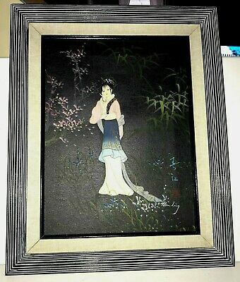 Original Vintage Man Ling Painting-Asian Chinese Japanese Woman-Framed