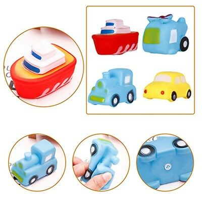4pcs/set Baby Toddler Bath Toys Squeeze Squeaky Floating Car Boat Fun Water Play