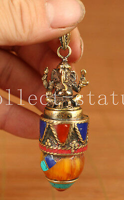 Tibet Old Copper Hand Carving Elephant God Statue inlay Armber Pendant amulet