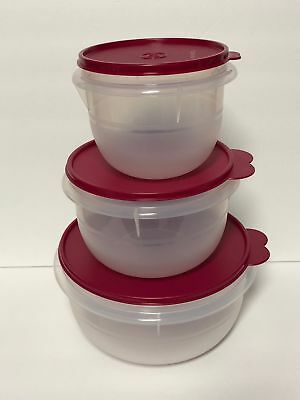 Tupperware CLASSIC MIXING BOWL SET Red 4 8 12 Cups NEW Vineyard