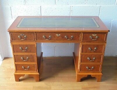 Lovely Antique Style Yew Wood Leather Top Pedestal Writing Desk With Lock & Key