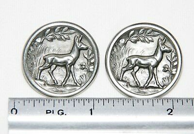 Antique Vintage French Picture Buttons Pair Steel Deer In Forest Hunting Hunt
