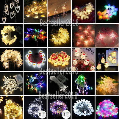 Indoor Outdoor 10/20/30/40/50/100 LED String Light Battery Operated Fairy Lights