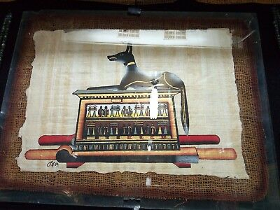 RARE ANCIENT EGYPTIAN PAPER Papyrus Painting Anubis 2890 Bc