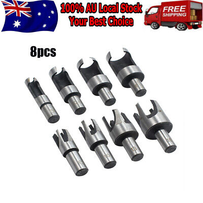 8 Pcs Carpentry Wood Plug Cutter Straight & Tapered Claw Type Drill Bit Sets AU