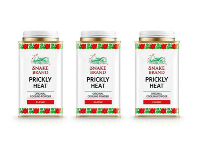3 x Snake Brand Prickly Heat Powder Classic 140g  EU Registered  Ships from UK