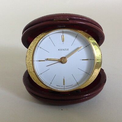 Kienzle Travel Alarm Clock Vintage 1960 Dark Tan Leather Case Working Time Piece