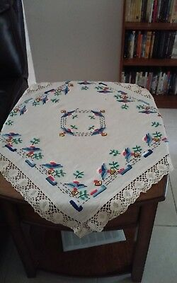 Vintage Antique Hand Embroidered Tablecloth 29 x 29