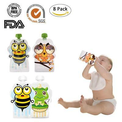 8 Pack 150ml Reusable Squeeze Pouches Refillable Baby Toddler Food Pouch FDA SGS