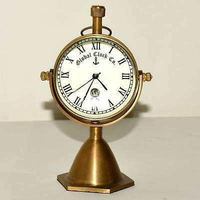 Table Decor Brass Antique Watch Desktop Nautical Clock Vintage Maritime  A462