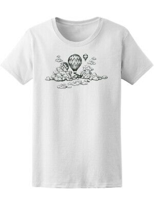 Hot Air Balloon In The Clouds Drawing Women's Tee -Image by Shutterstock