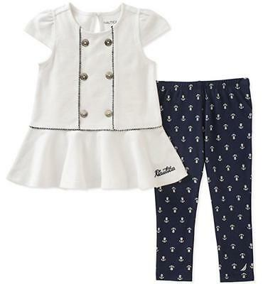 Nautica Girls White /& Chabray Tunic 2pc Legging Set Size 2T 3T 4T 4 5 6 6X