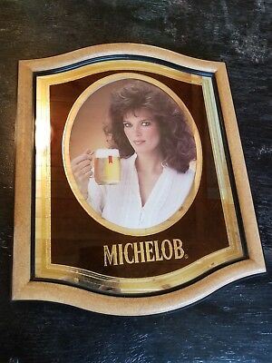 Vintage 1983 Michelob Beer Mirror Bar Sign With  Woman with blue/gray eyes.