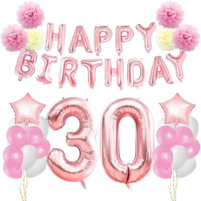 KUNGYO 30th Birthday Decorations Kit Rose Gold Happy Banner Giant Numb