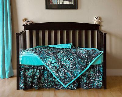 New 3Pc Muddy Girl Camo Camouflage Serenity  Baby Crib Set Sheet Skirt Blanket