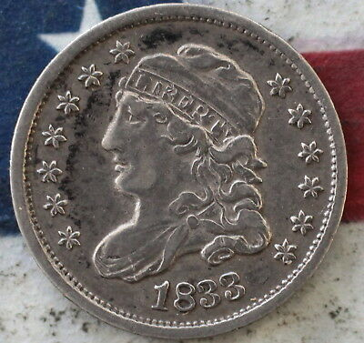 Kappyscoins 1833 Capped  Bust Half Dime Nice Ef Xf Extra Fine