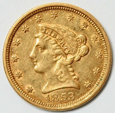 1853 $2.5 Liberty Head Gold Coin * Quarter Eagle * Cool Old Gold * FREE SHIPPING