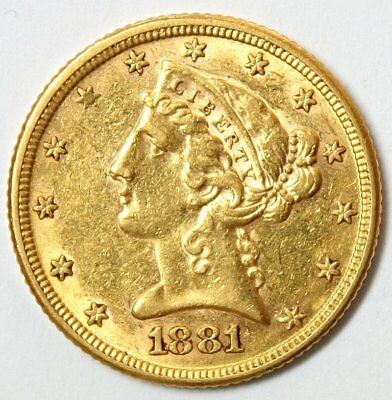 1881 $5 Liberty Head Gold Coin * Half Eagle * Lustrous Coin * FREE SHIPPING