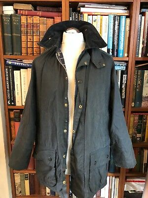 Vintage Wax Barbour Beaufort Navy Blue Oversized Jacket Size C40/102Cm