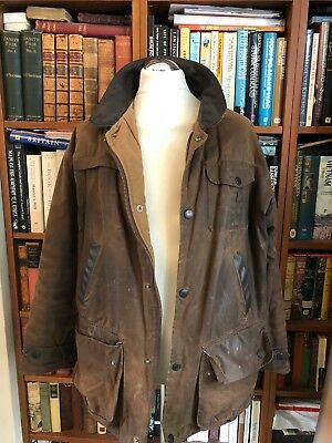 Vintage Wax Barbour Bushman  Oversized Jacket With Leather Collar Size L
