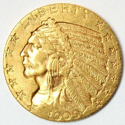 1909 $5 Indian Head Gold Coin * Half Eagle * Nice Old Gold * FREE SHIPPING