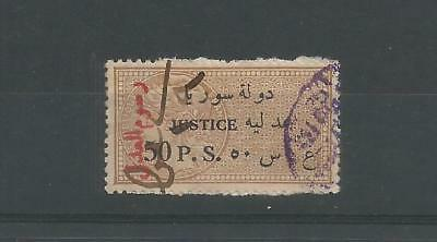 France Syria 50 Ps Revenue  Fiscal Stamp O/print Notary Fees Used