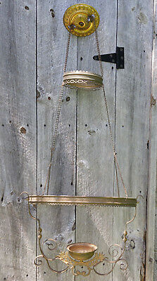 Antique Victorian Hanging Brass Library Pull Down Oil Lamp Frame