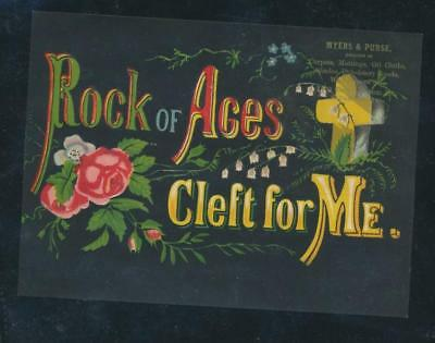 "DRAMATIC large Victorian trade card, ""Rock of Ages, Cleft for Me"""