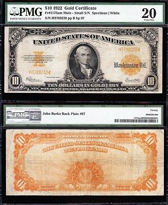 NICE *SCARCE* Fr. 1173am (Small S/N Mule) VF 1922 $10 GOLD CERTIFICATE! PMG 20!