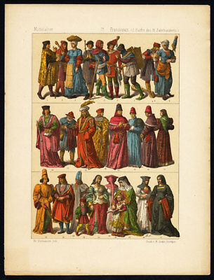 Antique Print-MIDDLE AGES-FRANCE-FRENCH COSTUME-15TH CENTURY-Hottenroth-1884