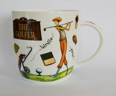 """Queens by Churchill """"At Your Leisure"""" The Golfer fine china Mug"""
