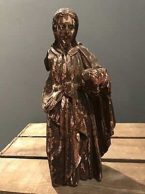 Antique Wooden Santos Jesus Joseph Figure Polychrome Large 18th 19th Century