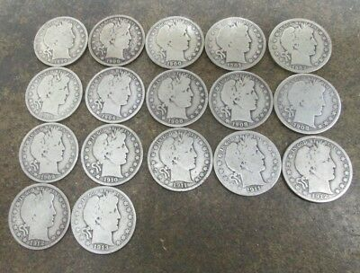 Lot of 17 Different Barber Silver Half Dollars in Good Condition No Reserve
