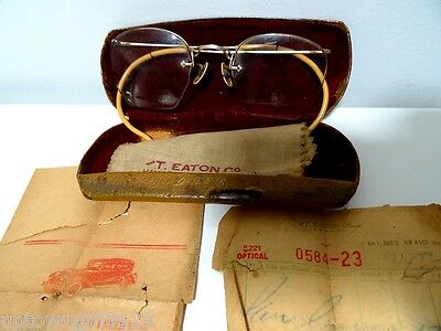 antique BIFOCALS REVEREND Victorian EATON'S spectacles GOLD FILLED +EPHEMERA