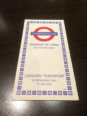 London Transport - Underground - Diagram Of Lines - Edition 1970