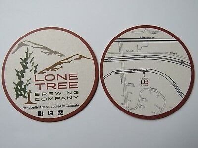Beer Bar Coaster ~ LONE TREE Brewing Co ~ Handcrafted Beers, Rooted in COLORADO