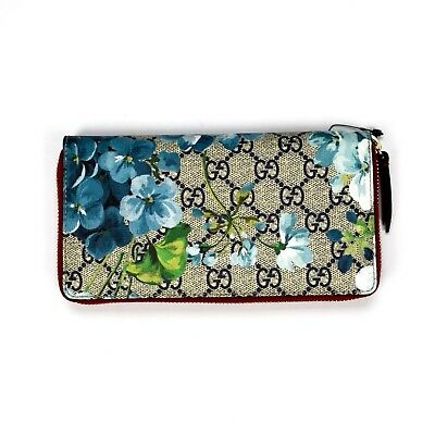 ddf09c9544b NWT Gucci GG Supreme Blue Red Blooms Print Canvas Leather Zip Wallet  AUTHENTIC