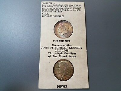 1964 P&D BU Toned Silver Kennedy Half $'s, Tidy House Promo Holder   Ships Free!