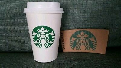 100 Starbucks White Disposable Hot Paper Grande Cups 16 oz with Lids and Sleeves