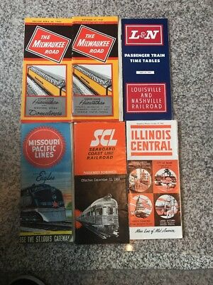 Railroad timetables - lot of 6 - several different lines - see description & pic