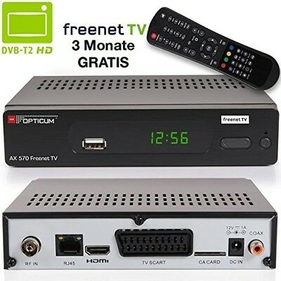 Opticum AX 570 Freenet TV digitaler DVB-T2 Receiver DVB-T H.265 Schwarz