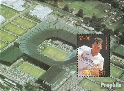 St. Vincent-Bequia block10 mint never hinged mnh 1988 Tennis Players