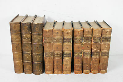 10 Antique Leather Gilt Edge Hardbound Books History Of Boston Best Literature