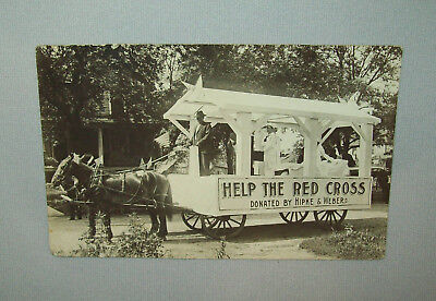 Old Antique vtg 1920s Red Cross Parade Wagon Real Photo Post Card Nice RPPC