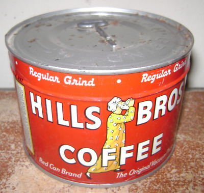 Old Vintage Antique 1 Lb Coffee Tin Can Hills Bros New Unopened Key Advertising