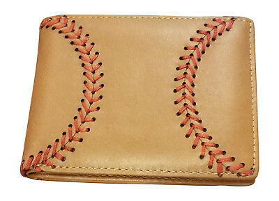 Tan Leather Baseball Bi-fold Wallet for Men with Raised Seams