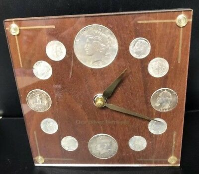 Vintage Our Silver Heritage Clock 1922 Peace Silver Dollar 1964 Coins 90%