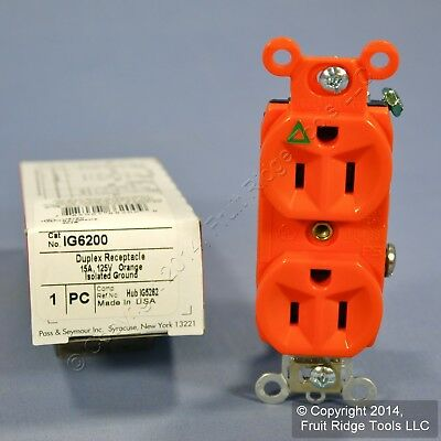 New Pass & Seymour Orange ISOLATED GROUND Duplex Outlet Receptacle 15A IG6200
