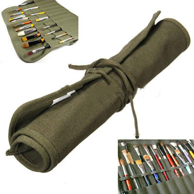 Roll Up Canvas Paint Brush Storage Case Bag Wrap Holder Watercolor Oil Brushes